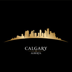 Calgary Alberta Canada city skyline silhouette black background