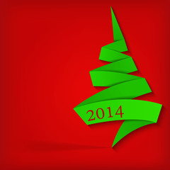 Abstract background with paper Christmas tree