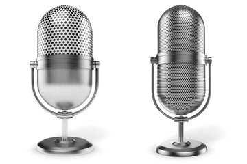3d vintage microphone on white background