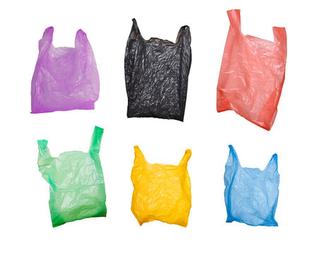 collection of various plastic bags isolated on white background