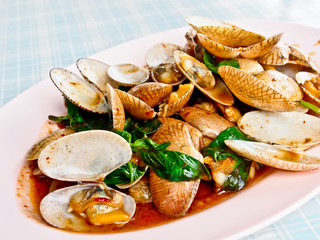 Thai food, stir baby clam with chili paste