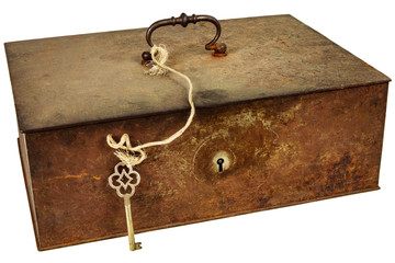 Vintage metal box with key isolated on white