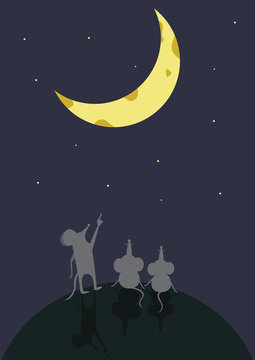 mouse sitting moon surface association cartoon night sky shows
