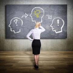 Geschäftsfrau mit Prozess Idee