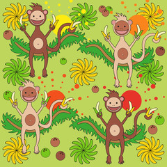 Background - a monkey with bananas