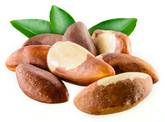 Garden Poster Brazil Brazil nuts with leafs isolated on white background