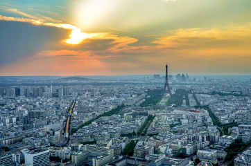 Panoramic View of Paris City with Eiffel Tower at Sunset