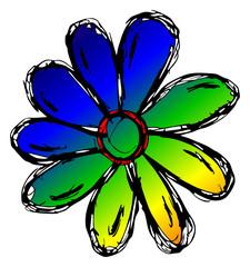 farbige Blume - Handzeichnung