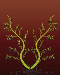 Оливковые ветви на градиентном фоне