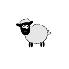 vector illustration of white sheep outline