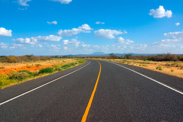 Printed roller blinds Africa Image of a asphalt road in the African savannah