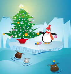 cold penguin  making christmas tree at North Pole