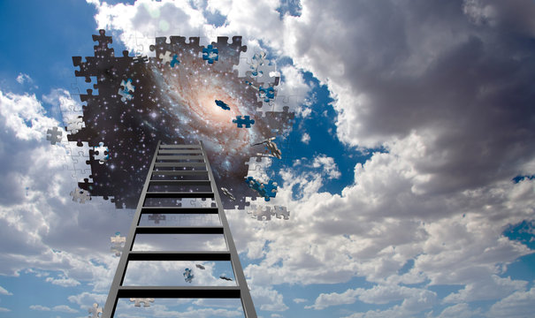 Puzzle Piece Hole in Sky and Ladder