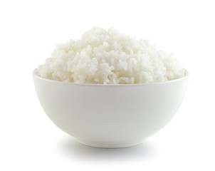 Rice in a bowl on a white background