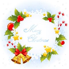 Christmas decorative congratulation card with symbols