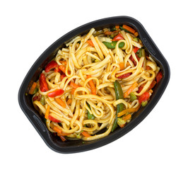 Microwaved TV dinner of noodles and vegetables