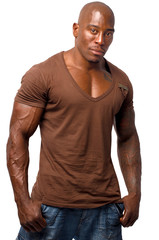 Black bodybuilder in casual clothes isolated