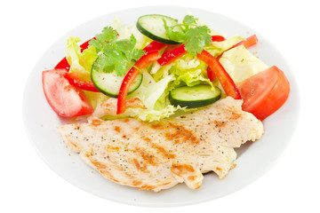 grilled turkey with salad