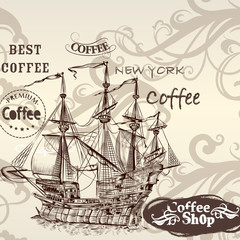 Beautiful vector background in vintage style with detailed ship