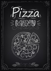 Pizza. Menu on the chalkboard