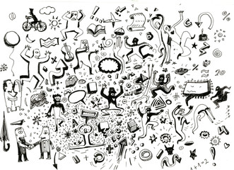 People hand drawn doodle
