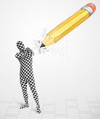 Guy in body mask with a big hand drawn pencil