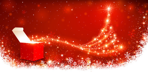 Wall Mural - Christmas background with magic box