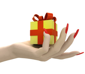 isolated gift surprise box in women hand render