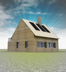 wooden house with solar panels on the roof and sky