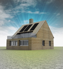wooden modern house with solar panels on the roof and sky