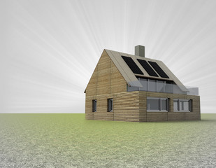 small wooden house with solar panels on the roof and flare