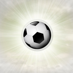 football ball in glossy bubble in the air with flare