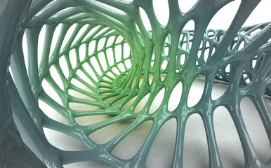 green organic skeleton structure shape study abstract wallpaper