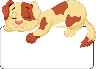 Cute dog cartoon sleeping on the white blank label