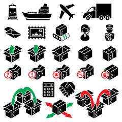 vector parcel delivery icon set