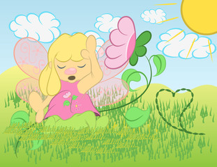 Illustration vector cute fairy with flowers