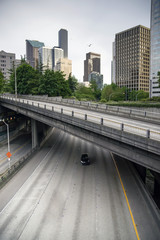 Four Lane Highway Interstate Carries Automobiles Seattle Travel