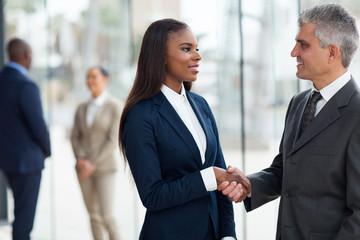 senior businessman handshaking with young businesswoman