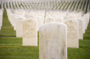 Marble Stone Military Headstones Hundreds Row Graveyard Cemetery