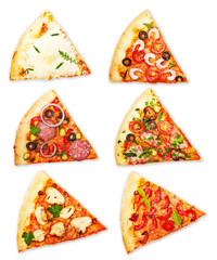 Wall Mural - Pizza slice with different toppings isolated on white
