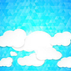 Paper clouds with blue illustration background.