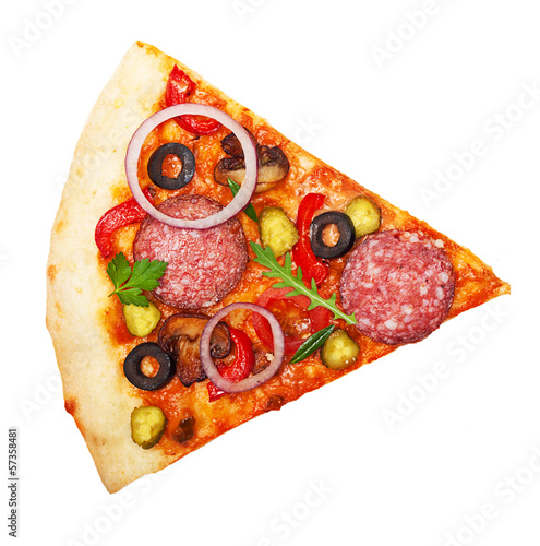 Wall mural Pizza slice isolated on white background.