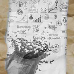 hand drawn  business strategy splash on crumpled paper with tear
