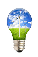Green energy, ecology concept, light bulb