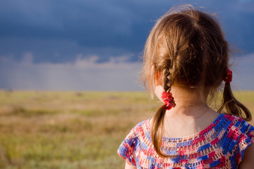 Little girl with braids looking at landscape