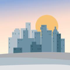 Cartoon city landscape at sunset