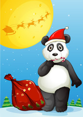 A panda wearing Santa's hat while eating a cane lollipop