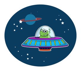 Green alien in a cute cartoon space ship