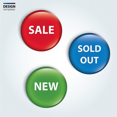 Set of badge for the new, sold out and discount item.
