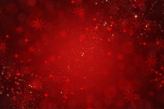 Red Holiday Christmas Background with Snowflakes and Stars